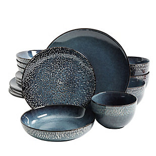 Gibson Elite Matisse 16-Piece Double Bowl Dinnerware Set, Cobalt, , large