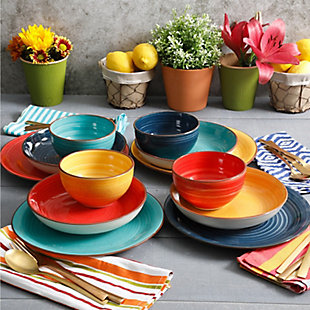 Gibson Home Color Speckle 12 Piece Mix and Match Double Bowl Dinnerware Set in 4 Assorted Colors, , rollover