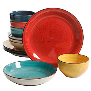 Gibson Home Color Speckle 12 Piece Mix and Match Double Bowl Dinnerware Set in 4 Assorted Colors, , large