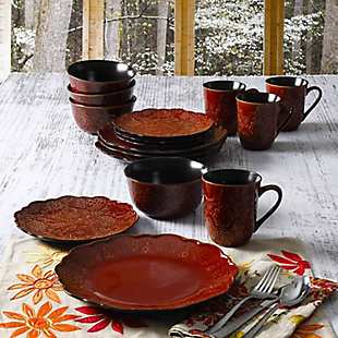 Gibson Elite Portina 16 Piece Stoneware Dinnerware Set in Rust, Service for 4, , rollover