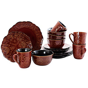 Gibson Elite Portina 16 Piece Stoneware Dinnerware Set in Rust, Service for 4, , large