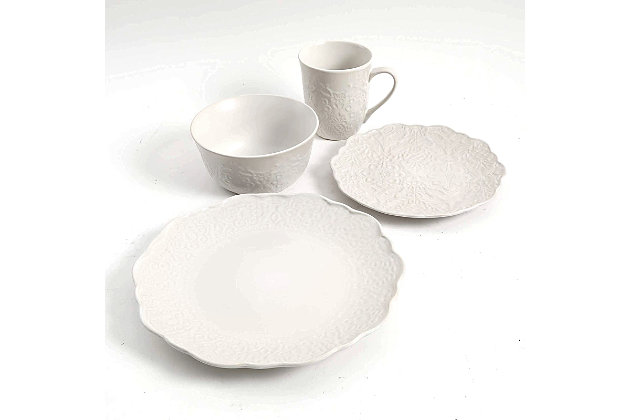 Gibson Elite Portina 16 Piece Stoneware Dinnerware Set in Linen, Service for 4, White, large