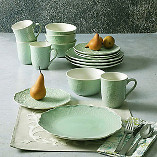 Gibson Elite Portina 16 Piece Stoneware Dinnerware Set in Celedon, Service for 4, Green, rollover