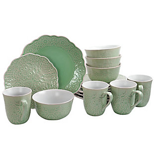 Gibson Elite Portina 16 Piece Stoneware Dinnerware Set in Celedon, Service for 4, Green, large