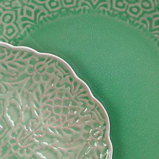 Gibson Elite Portina 16 Piece Stoneware Dinnerware Set in Celedon, Service for 4, Green, large