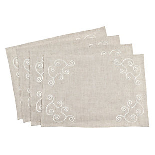 Saro Lifestyle Embroidered Swirl Design Linen Blend Placemat (Set of 4), , large