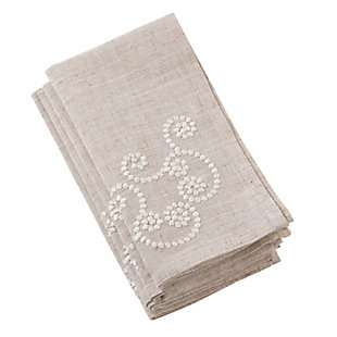 Saro Lifestyle Embroidered Swirl Design Natural Linen Blend Napkin (Set of 4), , large