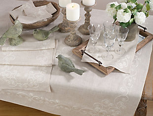 Saro Lifestyle Embroidered Swirl Design Natural Linen Blend Tablecloth, Beige, rollover