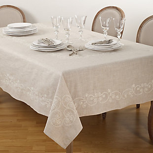 Saro Lifestyle Embroidered Swirl Design Natural Linen Blend Tablecloth, Beige, large