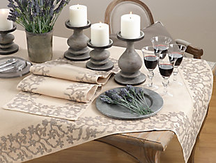 Saro Lifestyle Embroidered Floral Border Table Runner, , rollover