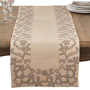 Saro Lifestyle Embroidered Floral Border Table Runner, , large