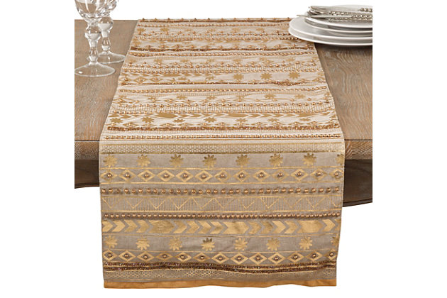 Saro Lifestyle Beaded Aztec Cotton Table Runner, , large