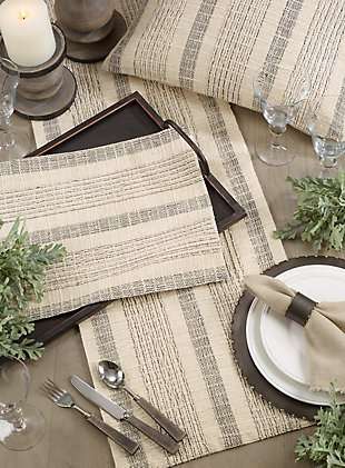 Saro Lifestyle Striped Woven Cotton Table Runner, , rollover