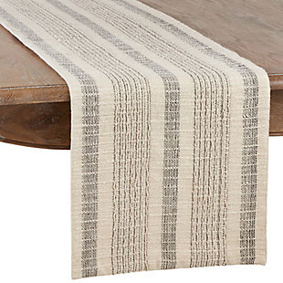 Saro Lifestyle Striped Woven Cotton Table Runner, , large