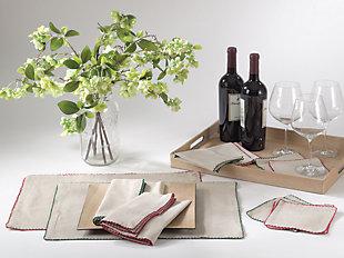 Saro Lifestyle Crochet Scalloped Design Table Linens (Set of 4), , rollover