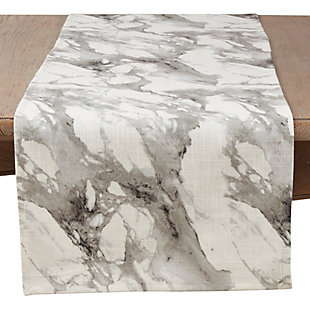 Saro Lifestyle Marble Print Cotton Runner, , rollover