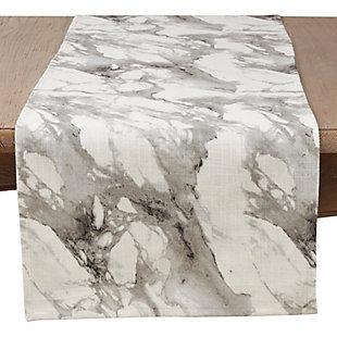 Saro Lifestyle Marble Print Cotton Runner, , large