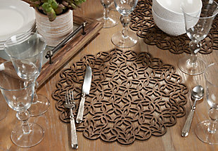Saro Lifestyle Round Placemat with Laser Cut Design (Set of 4), , rollover