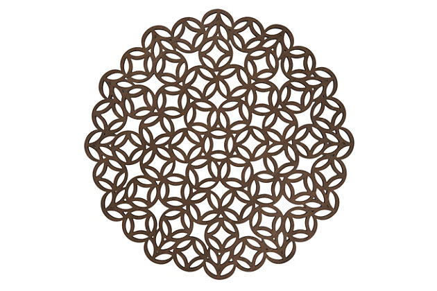 Saro Lifestyle Round Placemat with Laser Cut Design (Set of 4), , large
