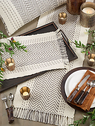 Saro Lifestyle Table Runner with Kantha Stitch Design, Gray, rollover