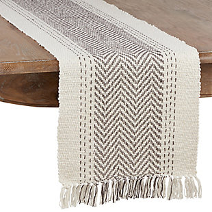 Saro Lifestyle Table Runner with Kantha Stitch Design, Gray, large