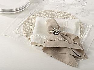 Saro Lifestyle Ruffled Linen Napkin (Set of 4), Cream, rollover