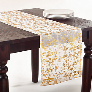 Saro Lifestyle Long Table Runner with Foil Print Design, Gold, rollover