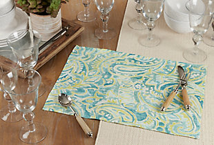 Saro Lifestyle Linen Placemat with Distressed Paisley Design (Set of 4), , rollover