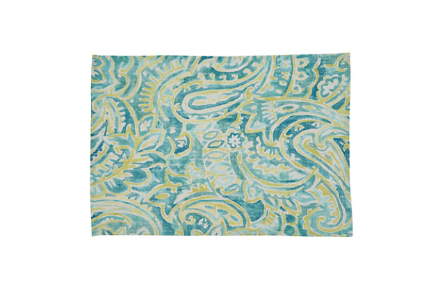 Saro Lifestyle Linen Placemat with Distressed Paisley Design (Set of 4), , large