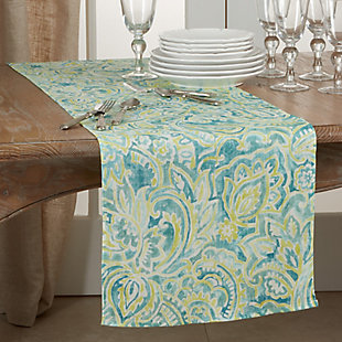 Saro Lifestyle Linen Table Runner with Distressed Paisley Design, , rollover