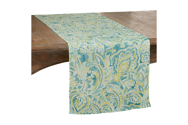 Saro Lifestyle Linen Table Runner with Distressed Paisley Design, , large