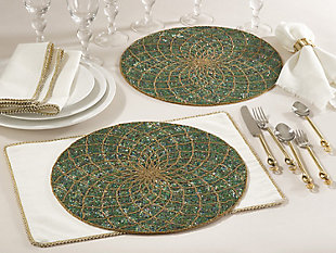 Saro Lifestyle Belagavi Collection Beaded Design Placemat (Set of 4), , large