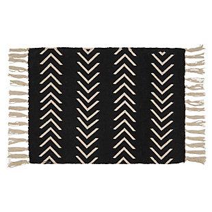 Saro Lifestyle Cotton Placemat with Chevron Design (Set of 4), Black, large