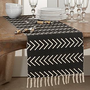 Saro Lifestyle Chevron Design Table Runner, Black, rollover