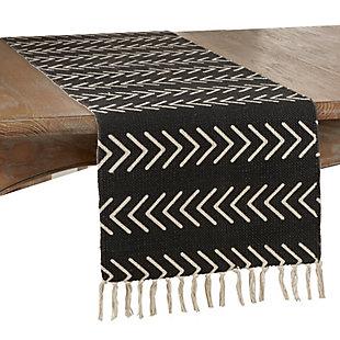 Saro Lifestyle Chevron Design Table Runner, Black, large