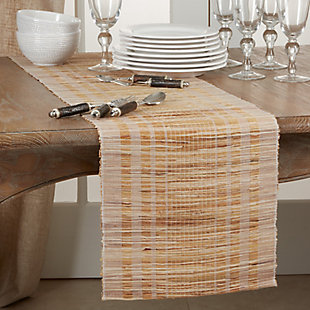 Saro Lifestyle Water Hyacinth Table Runner with Striped Design, , rollover