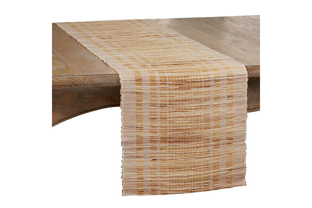 Saro Lifestyle Water Hyacinth Table Runner with Striped Design, , large