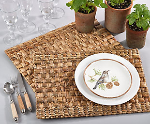 Saro Lifestyle Woven Design Water Hyacinth Placemat Set (Set of 4), , rollover