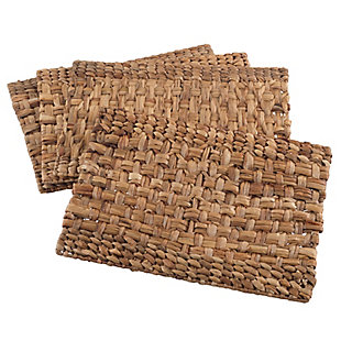 Saro Lifestyle Woven Design Water Hyacinth Placemat Set (Set of 4), , large