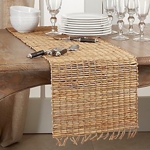 Saro Lifestyle Table Runner with Water Hyacinth Construction, , rollover