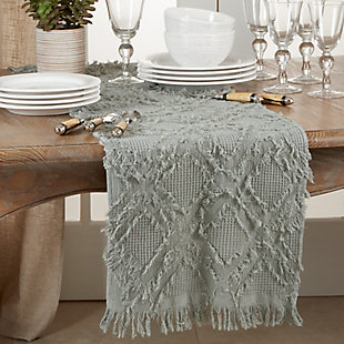 Saro Lifestyle Waffle Weave Table Runner with Fringe Design, Blue, rollover