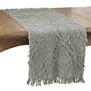 Saro Lifestyle Waffle Weave Table Runner with Fringe Design, Blue, large