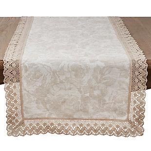 Saro Lifestyle Lace Trim Jacquard Table Runner, , large