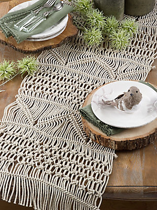 Saro Lifestyle Cotton Table Runner with Macramé Design, , rollover