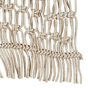 Saro Lifestyle Cotton Table Runner with Macramé Design, , large