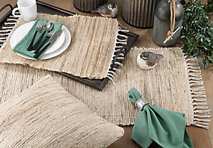 Saro Lifestyle Jute Table Runner with Chindi Design, Beige, rollover