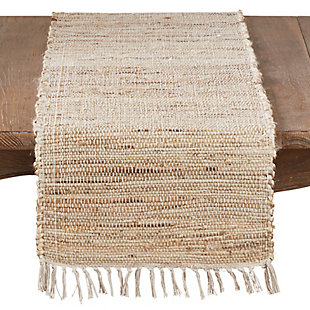 Saro Lifestyle Jute Table Runner with Chindi Design, Beige, large