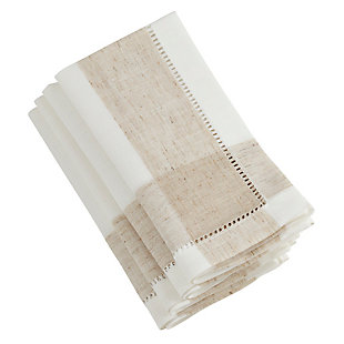 Saro Lifestyle Hemstitch Table Napkin with Two Tone Design (Set of 4), , rollover