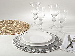 Saro Lifestyle Beaded Design Placemat (Set of 4), Gold, rollover