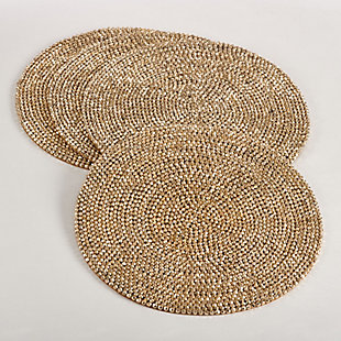 Saro Lifestyle Beaded Design Placemat (Set of 4), Gold, large